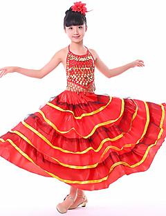 billige Nyheter-Latin Dans Bunner / Flamenco Jente Ytelse Spandex Ruchiing / Kombinasjon Levert Skjørt