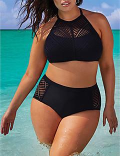billige Bikinier og damemote-Dame Solid Svart Bikini Badetøy - Ensfarget Ren Farge, Blonder 4XL XXXXXL XXXXXXL / Uten bøyle / Sexy