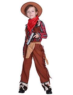 billige Halloweenkostymer-West West Cowboy Cowboy Kostymer Gutt Barne Drakter Aktiv Jul Halloween Karneval Festival / høytid Polyester Drakter Brun Pledd / Tern