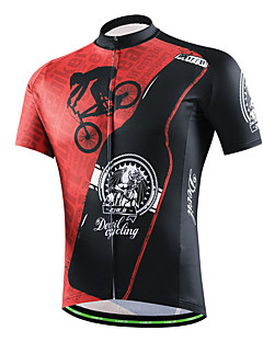 d0a867299 cheji® Men s Short Sleeve Cycling Jersey - Black   White Black   Red Black    Green Solid Colored Letter   Number Bike Jersey Sports Other Mountain  Bike MTB ...