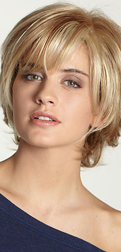 cheap -Human Hair Capless Wigs Human Hair Wavy Bob Haircut / Layered Haircut / With Bangs Side Part Black / Blonde / Brown Short Capless Wig Women's