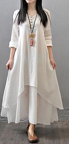 זול -לבן מקסי שכבות מרובות, אחיד - שמלה גזרת A משוחרר כותנה מידות גדולות סגנון סיני בגדי ריקוד נשים