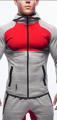 abordables -Homme Mosaïque Veste de Course Running Des sports Coton Sweat à capuche Shirt Hauts / Top Fitness Entraînement de gym Exercice Manches Longues Tenues de Sport Respirable Confortable