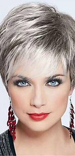cheap -Human Hair Capless Wigs Human Hair Straight Pixie Cut Dark Roots / Side Part / With Bangs Silver / Black / Blonde Short Wig Women's / Brown / Gray