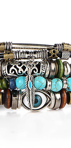 cheap -Men's Turquoise Stack Plaited Wrap Beads Wrap Bracelet Leather Bracelet Leather Turquoise Leaf Evil Eye Ladies Personalized Vintage Fashion Bracelet Jewelry Khaki / Green / Yellow / Royal Blue And