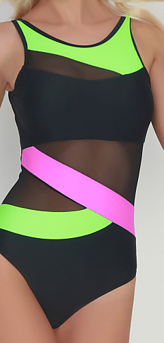 cheap -Women's Strap Green Red Underwire Cheeky One-piece Swimwear - Striped Color Block Basic M L XL Green