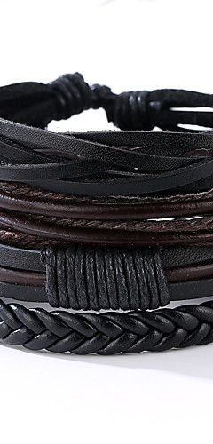cheap -4 PCS Men's Wrap Bracelet Leather Bracelet Leather Vintage Punk Bracelet Jewelry Black For Anniversary Gift Sports Valentine