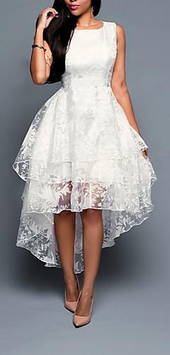 זול -לבן א-סימטרי אחיד - שמלה גזרת A מידות גדולות ליציאה בגדי ריקוד נשים