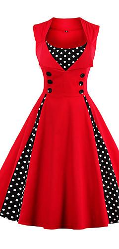 זול -אדום מידי דפוס, מנוקד - שמלה גזרת A מידות גדולות וינטאג' שנות ה-50 חגים ליציאה בגדי ריקוד נשים / Party