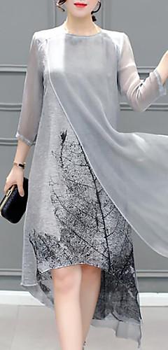 זול -א-סימטרי שכבות מרובות, גראפי - שמלה שיפון מידות גדולות ליציאה בגדי ריקוד נשים