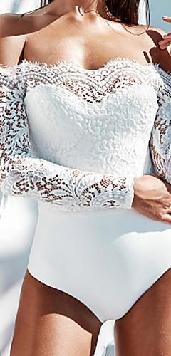 cheap -Women's Off Shoulder Lace Off Shoulder White Black One-piece Swimwear - Solid Color Black White Lace M L XL White