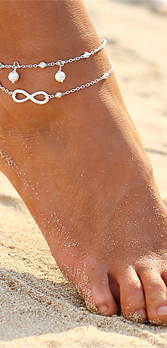 cheap -Women's Layered Anklet Pearl Infinity Ladies Double Layered Bohemian Fashion Boho Anklet Jewelry Gold / Silver For Evening Party Beach Bikini