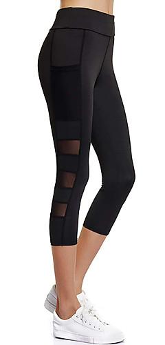 abordables -Femme Poche Pantalon de yoga Des sports Mode Maille Taille Haute Corsaire Leggings Zumba Exercice & Fitness Course / Running Tenues de Sport Respirable Séchage rapide Contrôle du Ventre Elastique Slim