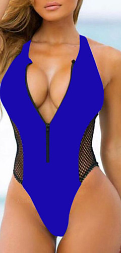 cheap -Women's Basic Strap Black Red Royal Blue Cheeky One-piece Swimwear - Solid Colored S M L Black / Sexy