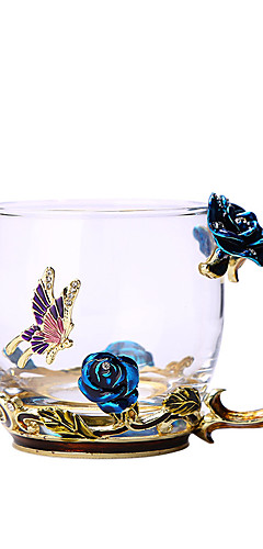 cheap -Blue Rose Enamel Crystal Cup Flower Tea Glass  Glass Water Mug with Handgrip Gift  Lover Wedding