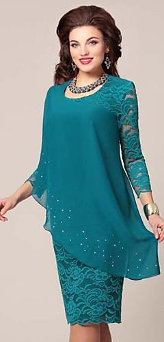 זול -עד הברך תחרה שיפון שמלה צינור בגדי ריקוד נשים
