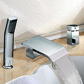 abordables Chrome Series-Robinet de baignoire - Moderne Chrome Baignoire romaine Soupape céramique / Deux poignées trois trous