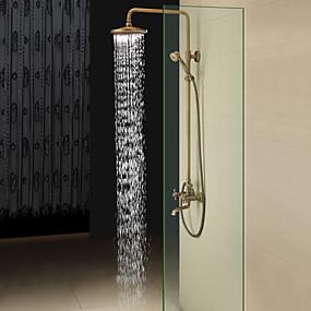 billige Rabatt på frakt-Dusjkran - Antikk Antikk Messing Dusjsystem Keramisk Ventil Bath Shower Mixer Taps / To Håndtak tre hull