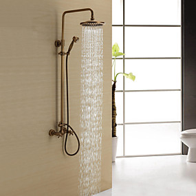 cheap Top Sellers-Shower Faucet - Antique Antique Brass Shower System Ceramic Valve Bath Shower Mixer Taps / Two Handles Three Holes