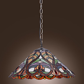 billige Tiffany Lamper-tiffany anheng lys med 2 lys i kunstnerisk mønstret skyggen