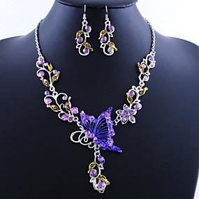 ราคาถูก เครื่องประดับ&นาฬิกา-สำหรับผู้หญิง ชุดเครื่องประดับ Drop Earrings สร้อยคอจี้ Butterfly สุภาพสตรี วินเทจ เกี่ยวกับยุโรป สง่างาม Everyday ต่างหู เครื่องประดับ สีเขียว / ฟ้า / สีชมพู สำหรับ