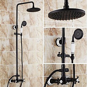 cheap Shower Faucets-Shower Faucet - Antique Oil-rubbed Bronze Tub And Shower Ceramic Valve Bath Shower Mixer Taps / Brass / Two Handles Three Holes