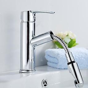 abordables Offres de la Semaine-Robinet lavabo - Avec spray démontable Chrome Set de centre 1 trou / Mitigeur un trouBath Taps