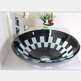 billige Frittstående vask-Baderomskran / Baderom Monteringsring / Baderom Vannavløp Moderne - Herdet Glass Rund Vessel Sink