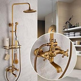 billige Dusjhoder-Dusjkran - Antikk Antikk Messing Dusjsystem Keramisk Ventil Bath Shower Mixer Taps / To Håndtak fem hull