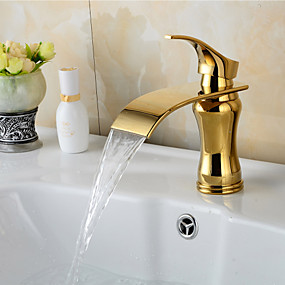 cheap Free Shipping-Bathroom Sink Faucet - Waterfall Ti-PVD Centerset Single Handle One Hole Bath Taps