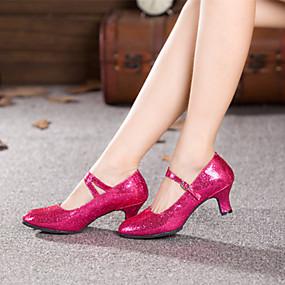 "cheap -50%-Shall We® Women's Modern Paillette Leatherette Heel Buckle Cuban Heel Black Red Blue Fuchsia 2"" - 2 3/4"" Non Customizable"
