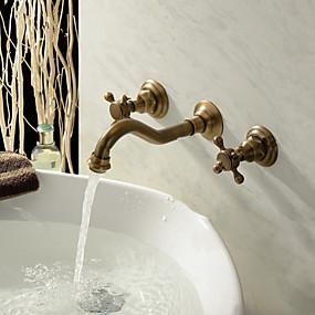 billige Antikk Messing Series-Antikk Vægmonteret Keramisk Ventil To Håndtak tre hull for  Antikk Messing , Baderom Sink Tappekran