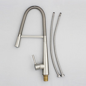 cheap Clearance-Kitchen faucet - One Hole Nickel Brushed Pull-out / Pull-down Deck Mounted Contemporary Kitchen Taps / Single Handle One Hole