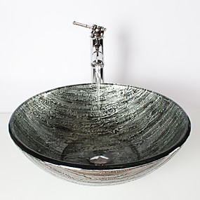 cheap Vessel Sinks-Ancient Silver Round Tempered Glass Vessel Sink with Bamboo Faucet ,Pop - Up Drain and Mounting Ring