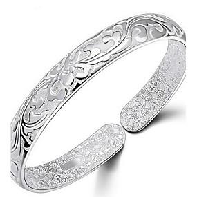 baratos Pulseiras Vintage-Mulheres Bracelete Flor senhoras Italiano Diário Prata de Lei Pulseira de jóias Prata Para Diário Casual Esportes