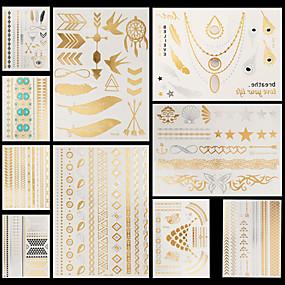 voordelige tattoo stickers-10 pcs Metallic Tatoeagestickers Tijdelijke tatoeages Bloemen Series / Sieraden Series Waterbestendig / Non Toxic / Halloween Lichaamskunst handen /  brachium / Patroon / Onderrrug / Waterproof