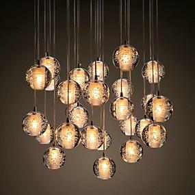 abordables Plafonniers-UMEI™ Grappe Lampe suspendue Lumière d'ambiance Chrome Métal Cristal 90-240V Blanc Crème Ampoule incluse / G4