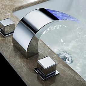 billige Ugentlige tilbud-Baderom Sink Tappekran - Foss Krom Vannrett Montering Tre Huller / To Håndtak tre hullBath Taps / Messing
