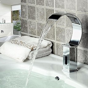 cheap Induction Faucets-Bathroom Sink Faucet - Waterfall / Sensor Chrome Deck Mounted Hands free One HoleBath Taps