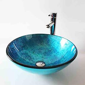 preiswerte Waschschalen und Aufsatz-Waschbecken-Waschbecken für Badezimmer / Armatur für Badezimmer / Einbauring für Badezimmer Moderne - Hartglas Rundförmig Vessel Sink