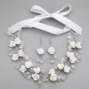 baratos Floral-Mulheres Branco Cristal Conjunto de Jóias Brincos Jóias Branco Para Casamento Festa Ocasião Especial Aniversário Noivado Presente