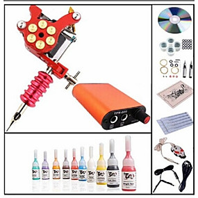 cheap Tattoos & Body Art-Tattoo Machine Starter Kit - 1 pcs Tattoo Machines with 10 x 5 ml tattoo inks Mini power supply Case Not Included 1 steel machine liner & shader