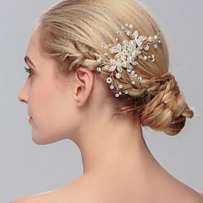 baratos Açucarado-Pérola Pentes de cabelo / Decoração de Cabelo com Floral 1pç Casamento / Ocasião Especial / Casual Capacete