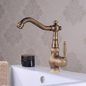abordables Offres de la Semaine-Robinet lavabo - Jet pluie Laiton Antique Set de centre Mitigeur un trouBath Taps