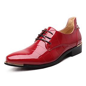 baratos Oxfords Masculinos-Homens Sapatos formais Microfibra Primavera / Outono Negócio Oxfords Preto / Vermelho / Azul Real / Casamento / Festas & Noite / Cadarço / Festas & Noite / Sapatos Confortáveis
