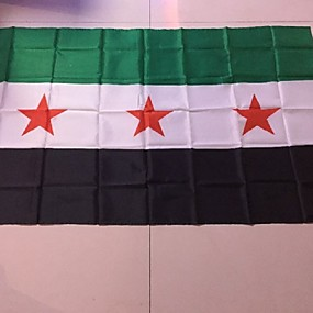 cheap Holiday Party Decorations-90*150 Cm Fleeing Shoping 1Pcs Syria Flag Sy Syr New Syrian Arab Republic National Flag(Without flagpole)