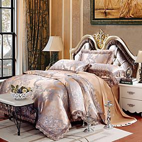halpa Luxury pussilakanat-pussilakanasetit ylellisyyttä silkki / puuvilla sekoitus jacquard 4 kpl vuodevaatteet asetetaan />800 kuningas