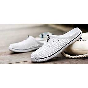 baratos Tamancos & Mules Femininos-Mulheres Sapatos Tule Borracha Conforto Sem Salto Dedo Fechado para Branco Preto Vermelho Azul Azul Claro