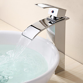 Bathroom Sink Faucet - Waterfall Chrome Vessel One Hole / Single Handle One HoleBath Taps