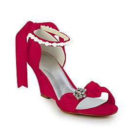 cheap Women's Wedges-Women's Wedge Heel Rhinestone / Bowknot / Imitation Pearl Satin / Stretch Satin Spring / Summer Pink / Champagne / Ivory / Wedding / EU36